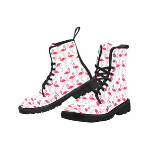 FLAMINGOS Women's Lace Up Canvas Boots (Model1203H)(Black)