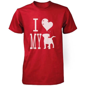 Funny Graphic Statement Womens Red T-shirt - I Love My Dog - Tienda Gelukkig