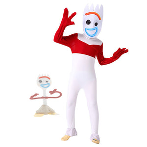 Toy Story 4 Forky Cosplay Costume Kid Jumpsuit Outfits Mask Full Set for Child Children Halloween Carnival Costumes