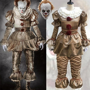 Stephen King's It Pennywise Cosplay Costumes Scary Joker Suit Fancy Separated mask Halloween Party Adult Men Women Clown Masks