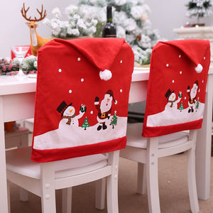 The New Cartoon Santa Claus Snowman Chair Cover Christmas Decorations For Home Restaurant Kitchen Holiday Supplies