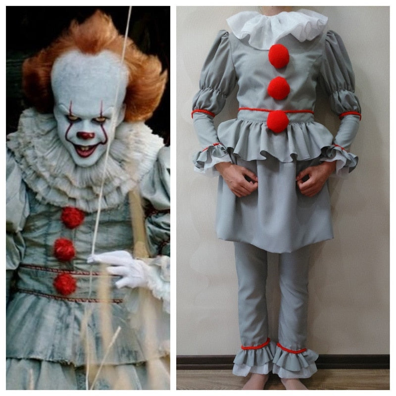 Stephen King's It Cosplay Costume Pennywise Costume Kids Adult Men Women Costume Fancy Halloween Outfit Suit Clown Costume