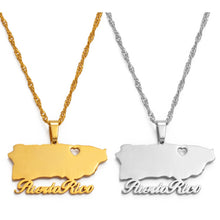 Anniyo Heart Puerto Rico Map Pendant Necklaces Gold Color PR Puerto Ricans Jewelry Gifts #124821