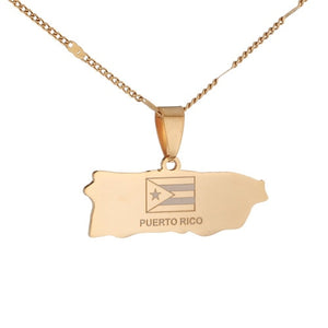 Stainless Steel Puerto Rico Map Pendant Necklaces Puerto Ricans Map Charm Jewelry