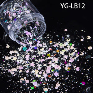 10ml/jar Mix Color Nail Art Glitter Powder Holo Gold Hexagon Aurora Nail Flakes Sequins for a Manicure Nail Art Decorations NEW