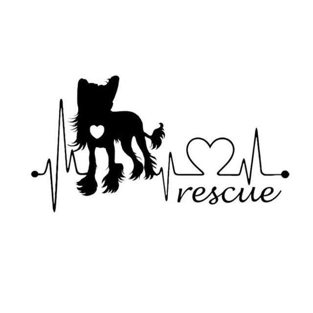 19CM*10.1CM Chinese Crested Dog Rescue Heartbeat Vinyl Bumper Car Sticker Black/Silver