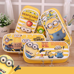Korean stationery Minions school pencil case Kawaii Big Capacity PU leather stationery pouch bags kids gift office school supply