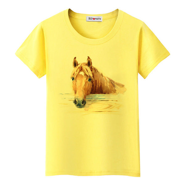 Super cool 3D horse tshirt cool summer tees original brand casual shirt lovely 3D horse t-shirt