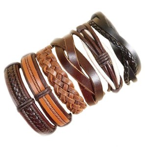 Wholesale 10PCS/lot (Random 10pcs ) Mix Styles Braided Bracelets Or 6pcs Leather Bracelets For Men Wrap Bangle Party Gifts  MX5