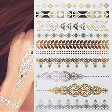 Flash Metallic Waterproof Tattoo Gold Silver Women Fashion Henna /Peacock Feather Design Temporary Tattoo Stick Paster