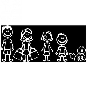 New Funny Hawaiian Family Car Stickers Interesting Figure Dad Mom Daughter Son And Pet Dog Auto Decal Car Stickers