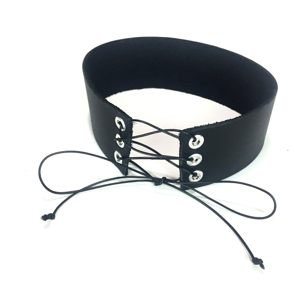 Leather Annika Lace Up Choker - Stinnys