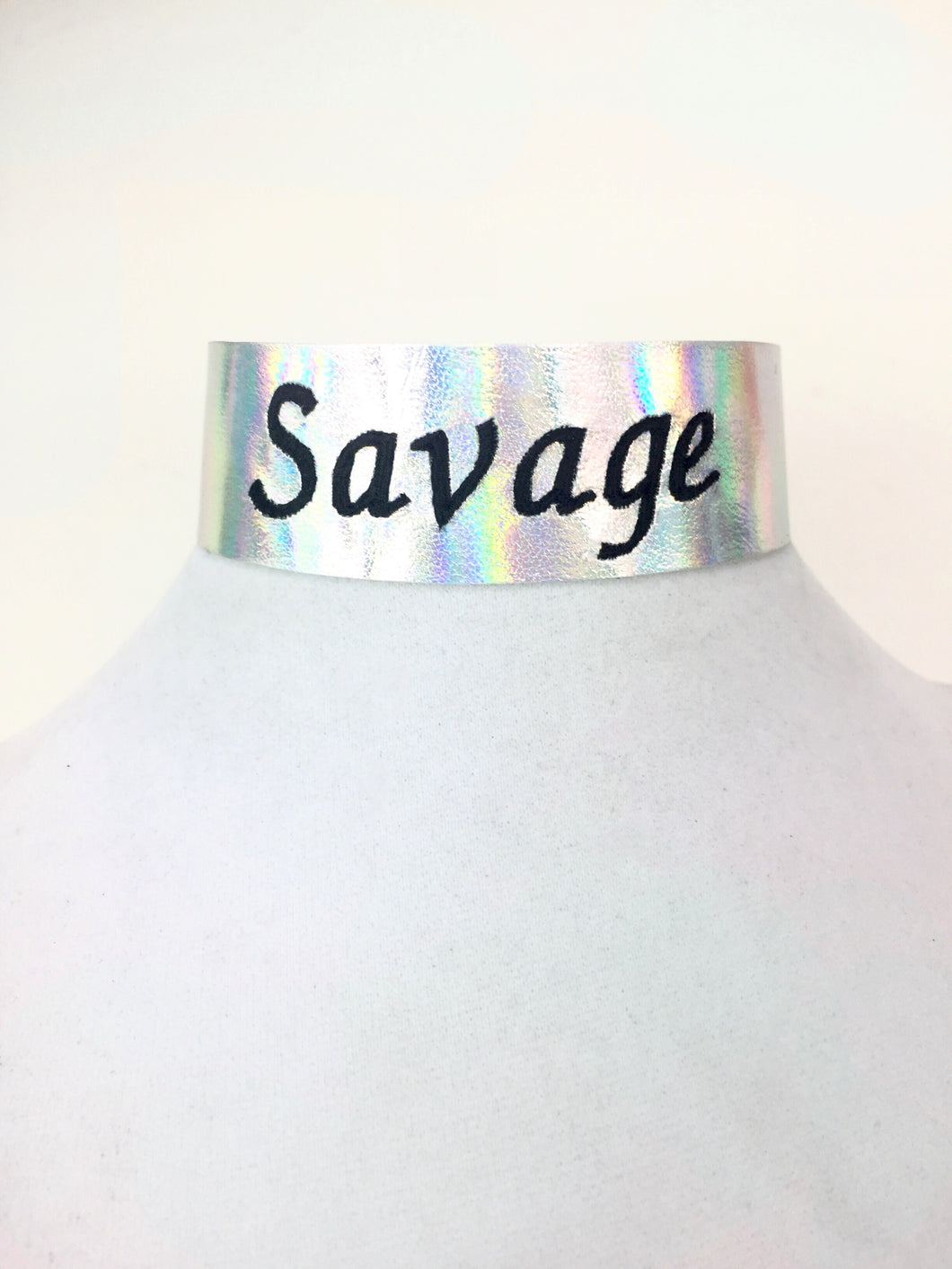 Holographic Custom Embroidered Choker.