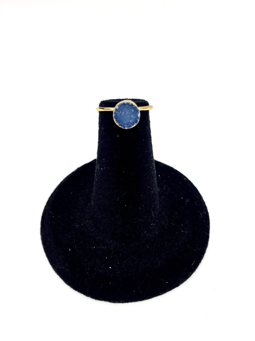Blue Druzy Gold Mid-Finger Ring O.O.A.K..