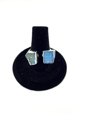 Blue & Grey Druzy Stone Ring O.O.A.K..