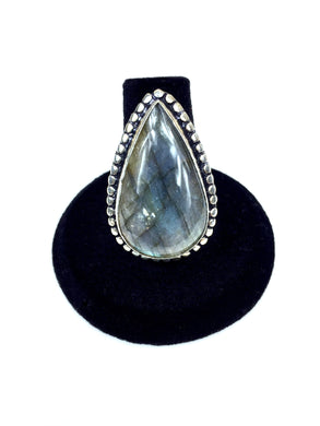 Long Labradorite Teardrop Ring O.O.A.K..