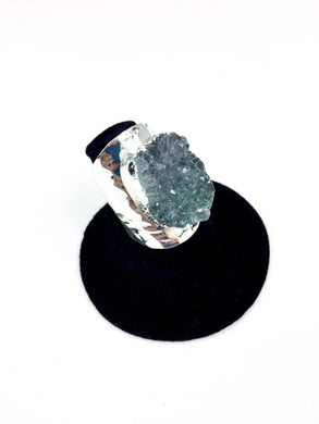 Blue Druzy Stone Hammer Finish Ring O.O.A.K. - Stinnys