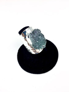 Blue Druzy Stone Hammer Finish Ring O.O.A.K..
