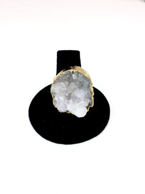 Clustered Quartz Gold Ring.