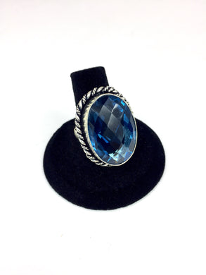 Blue Faceted Ring.
