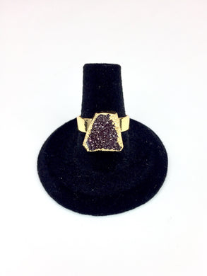 Purple Druzy Stone Gold Ring O.O.A.K..