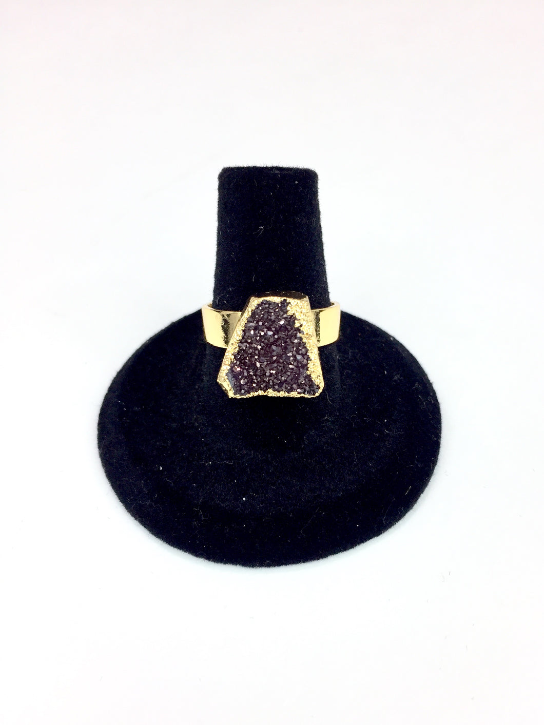 Purple Druzy Stone Gold Ring O.O.A.K. - Stinnys
