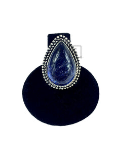 Blue Goldstone Teardrop Ring O.O.A.K..