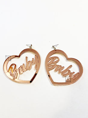 CUSTOM Heart Verbiage Hoop Earrings