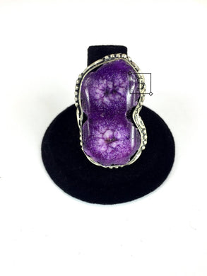 Double Purple Agate Stone Ring.