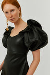 BLACK VALERIA BUBBLE SLEEVE DRESS