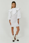 WHITE O'DELL BALLOON SLEEVE BIB DRESS