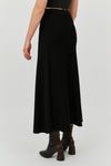BLACK SUITE ONE BIAS HIGH SPLIT SKIRT