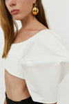 Neatly Labeled Bubble Crop Top White