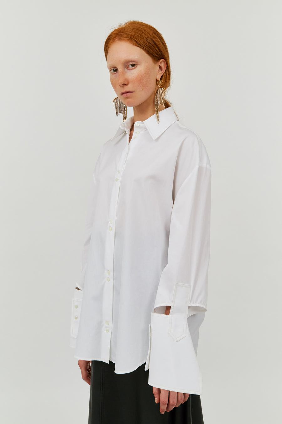 WHITE EVELYN CLASSIC SHIRT WITH ABSTRACT CUFF
