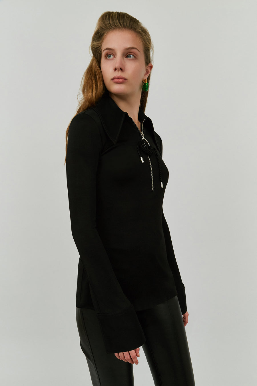 BLACK MCSHINE ZIP FRONT BLOUSE
