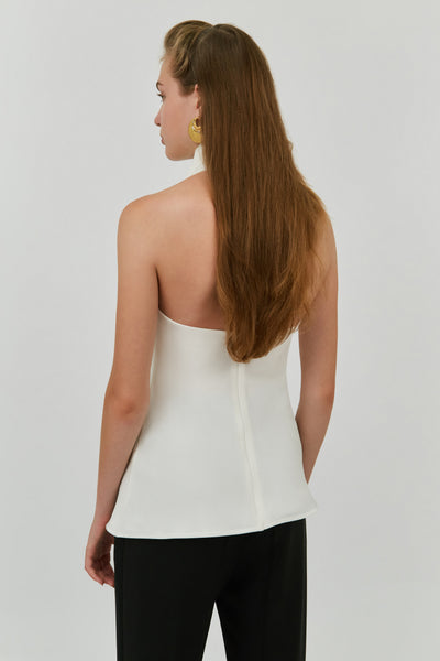 WHITE LIMOGIE HALTER NECK TOP