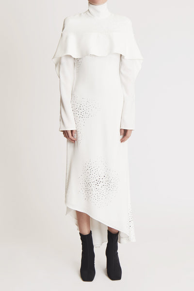 Empirical Embroidered High Collar Dress W Front Ruffle White