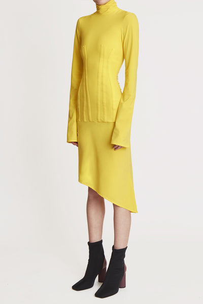 Turner Turtle Neck Corset Dress Yellow