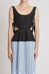 Moscow Romance Sleeveless Dress W Peplum Skirt Black