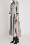 Cascais Asymmetrical Front Zip Dress Silver