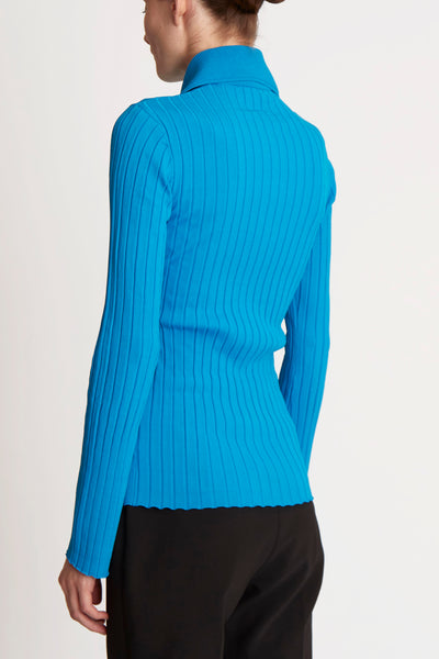 Charters Bleu Ribbed Polo Top