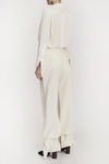 Left To Right Long Pant Peplum Hem Ivory