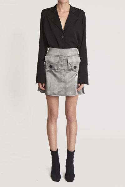 Nothing Matters Mini Skirt W Pouch Pocket Silver