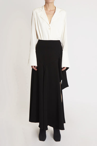 Faintest Sound Assymetrical Midi Skirt Black