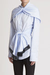 Euro Wrap Backless Shirt Blue