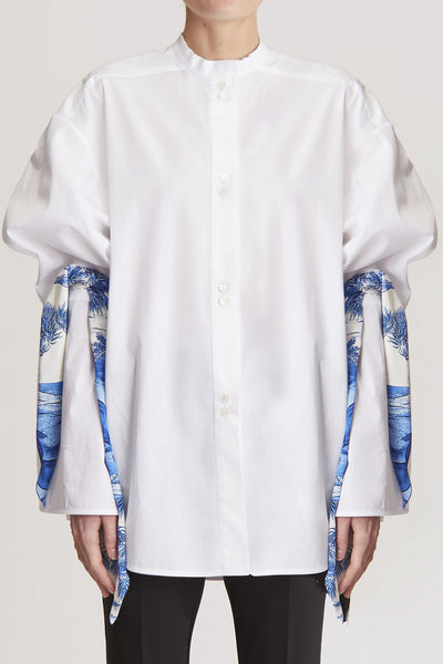 Paradigm Oversized Shirt W Peplum Sleeve White
