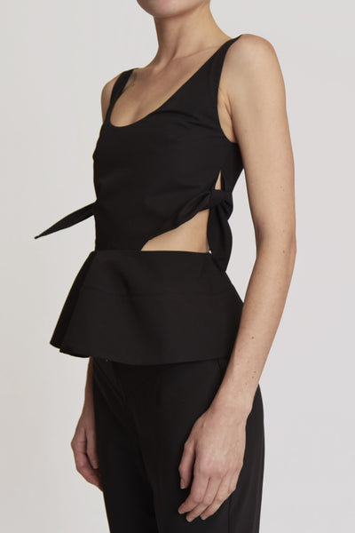 Piero Sleeveless Top W Peplum Black