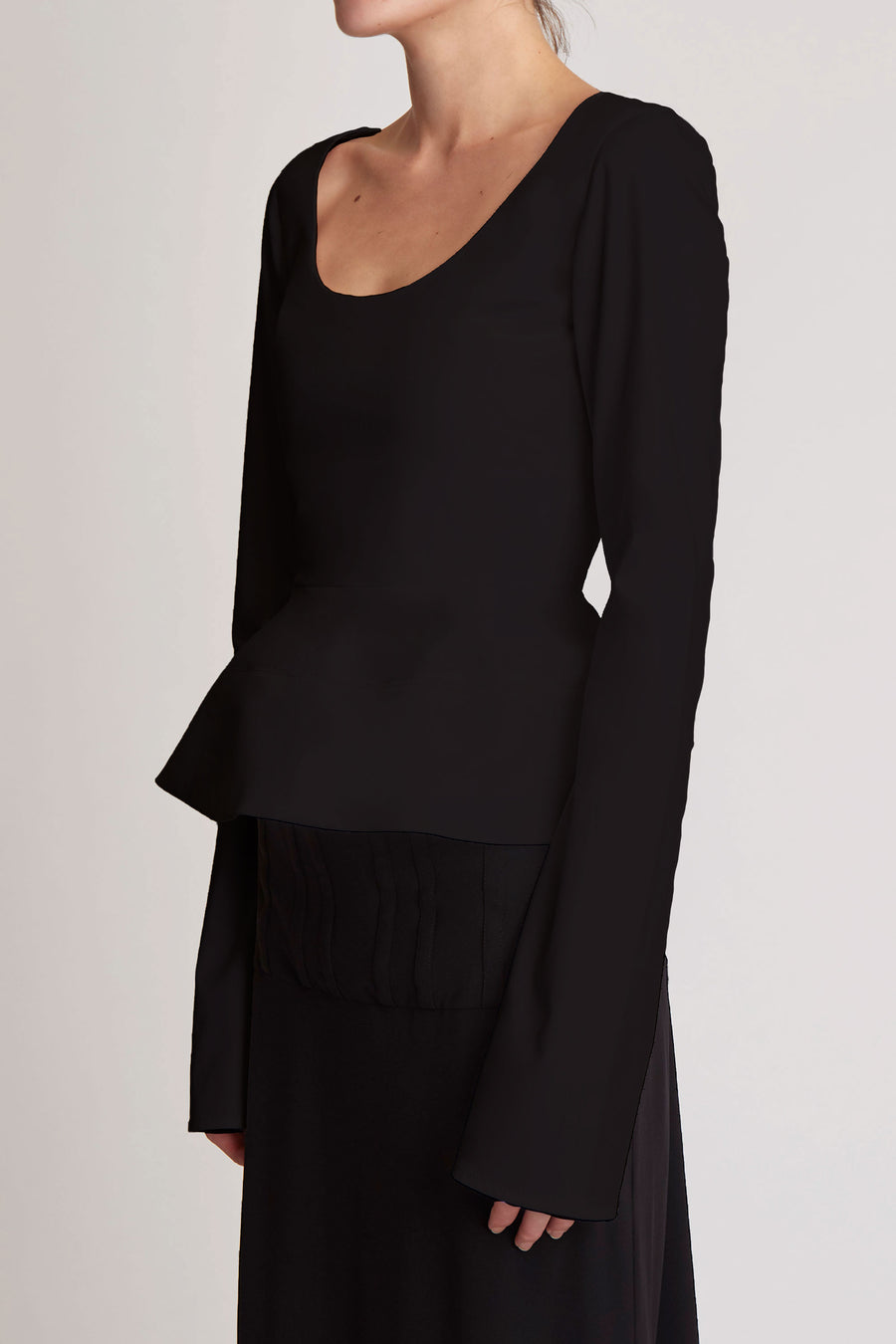 Manzoni Long Sleeve Peplum Top Black