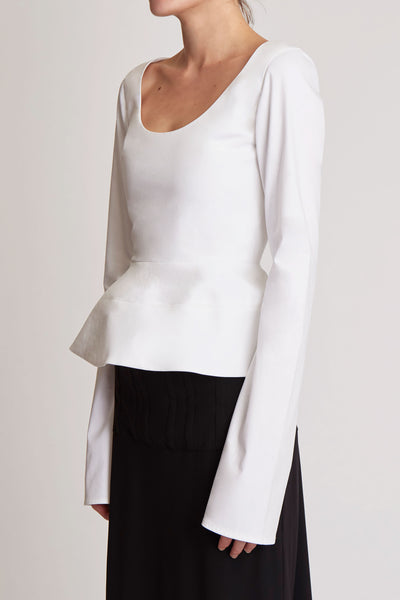 Manzoni Long Sleeve Peplum Top White