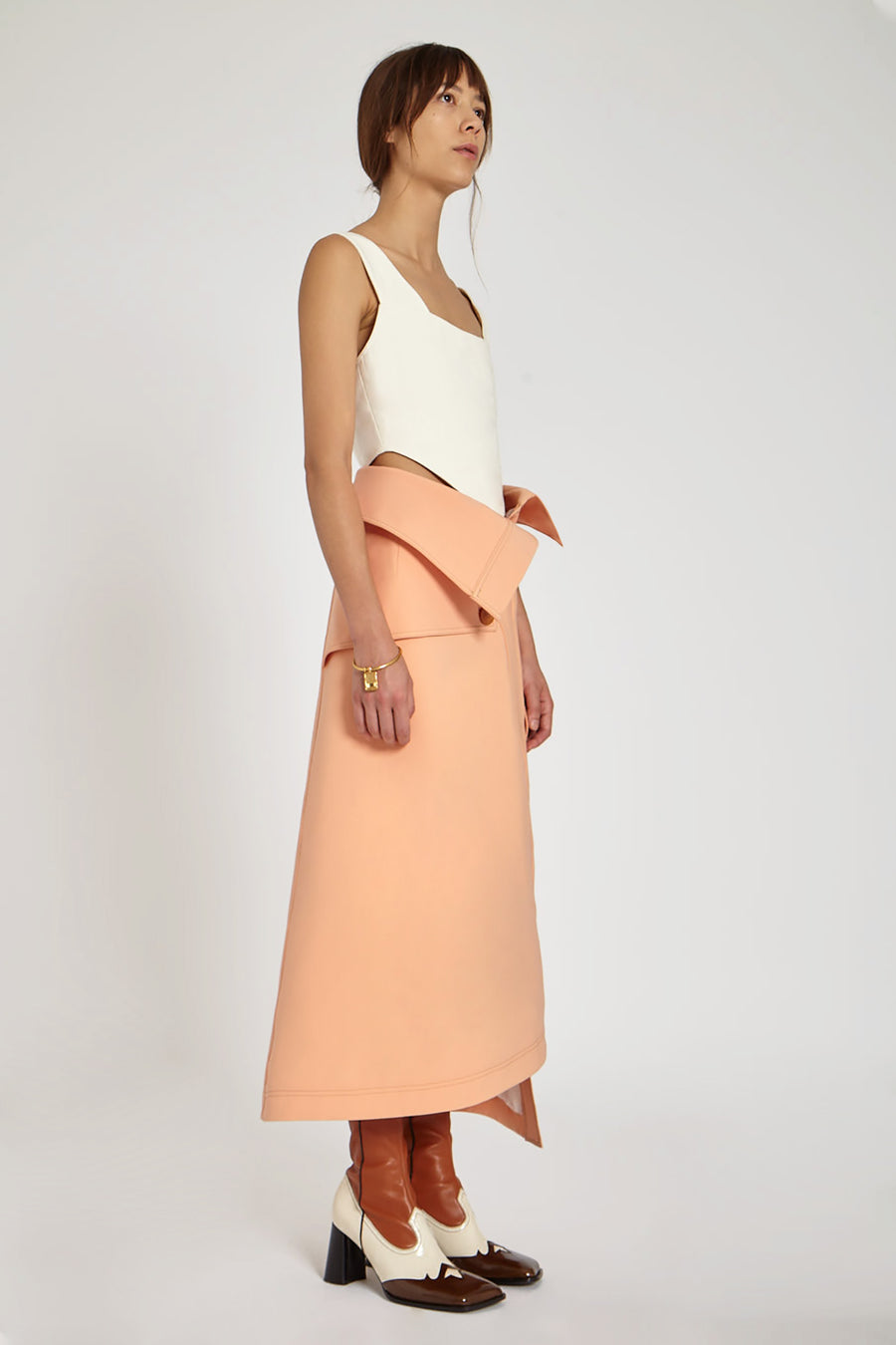 Endgame Trench A-Line Skirt Peach
